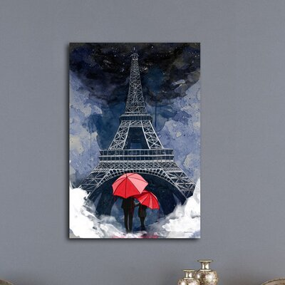 'Rainy Night in Paris' Graphic Art on Wrapped Canvas Size: 20