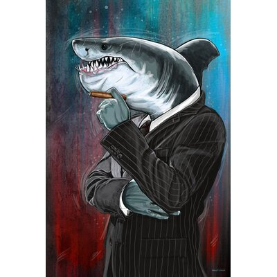 Business Shark Painting Print on Canvas Size: 20