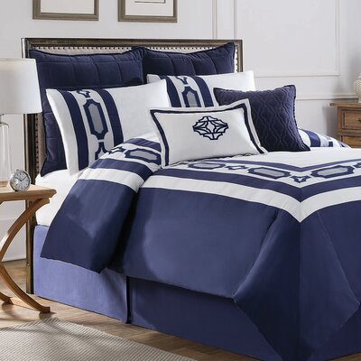 Hotel Embroidery 8 Piece Comforter Set Size: King