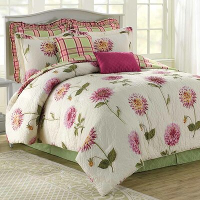 Dahlia 8 Piece Reversible Comforter Set Size: King