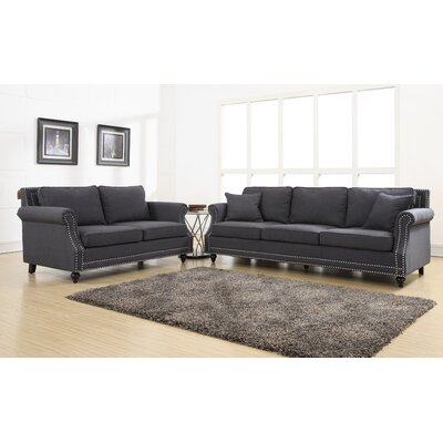 Camden 2 Piece Living Room Set Upholstery: Grey
