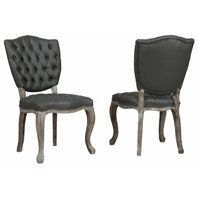 Amelia Side Chair in Leather - Grey