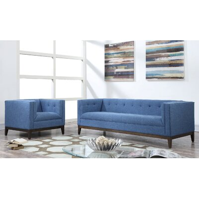 Gonyea Linen Living Room Set Upholstery: Blue