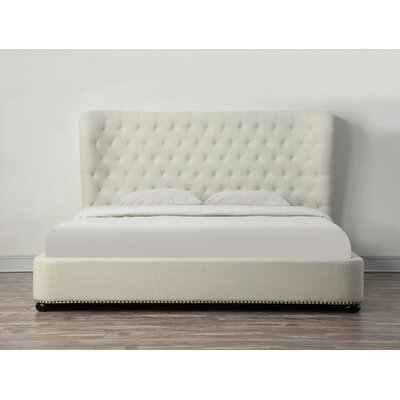 Finley Upholstered Platform Bed Size: King, Color: Beige Linen
