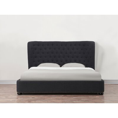 Finley Upholstered Platform Bed Size: Queen, Color: Grey