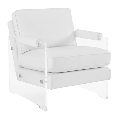 Edi Leather Armchair Color: White