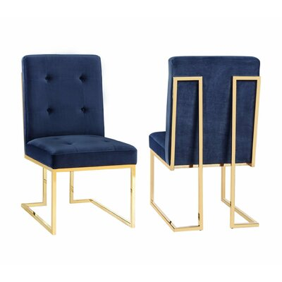 Sherri Velvet Side Chair Upholstery: Navy