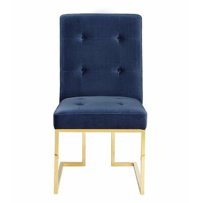 Sherri Velvet Parsons Chair (Set of 2) Upholstery: Navy