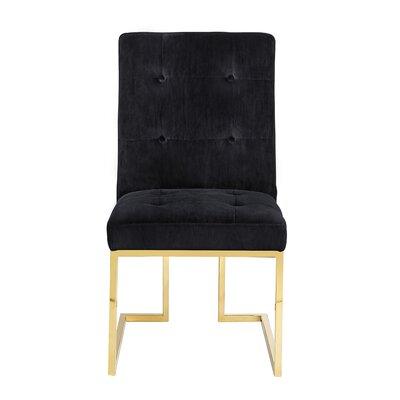 Sherri Velvet Side Chair Upholstery: Black