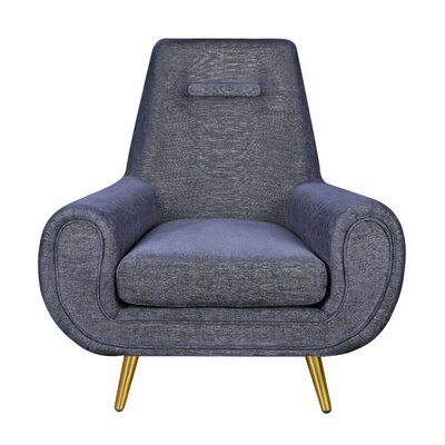 Rosanne Armchair Upholstery: Navy, Finish: Gold