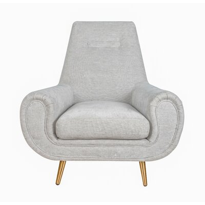 Rosanne Armchair Upholstery: Light Gray, Finish: Gold