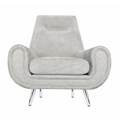 Rosanne Armchair Upholstery Color: Beige, Finish: Silver