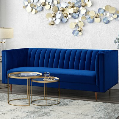 Hartell Chesterfield Sofa Upholstery: Navy
