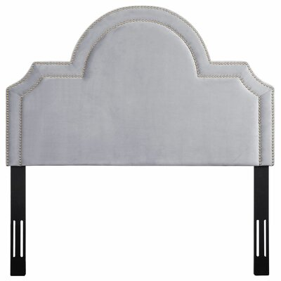 Heverlee Upholstered Panel Headbaord Size: 58.7 H x 77.6 W x 2.4 D, Upholstery: Gray