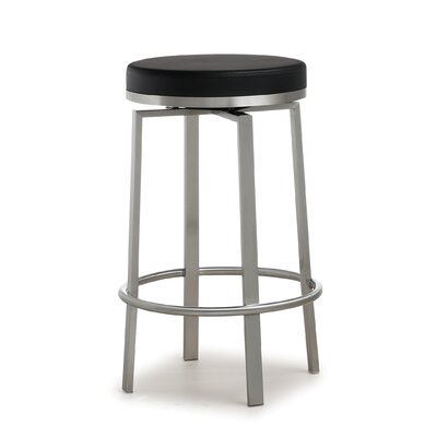 Fayston Steel 26 Swivel Bar Stool Upholstery: Black