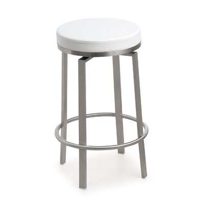 Fayston Steel 26 Swivel Bar Stool Upholstery: White
