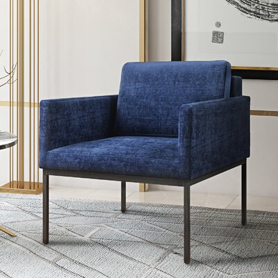 Carden Velvet Arm Chair Upholstery: Navy