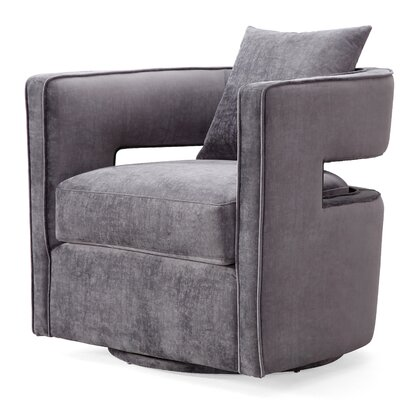 Rayners Swivel Barrel Chair Upholstery: Gray