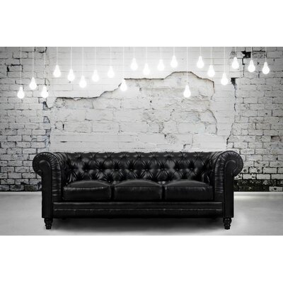 Zahara Chesterfield Sofa Upholstery: Black
