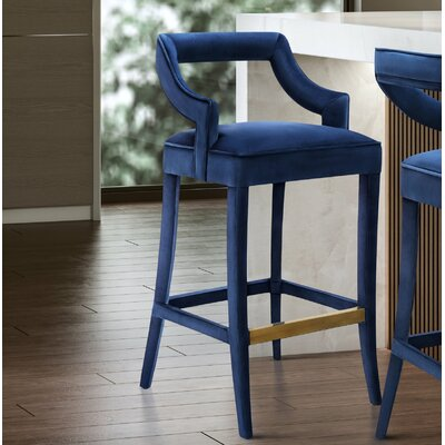 Amabilia 26 Bar Stool Upholstery: Navy