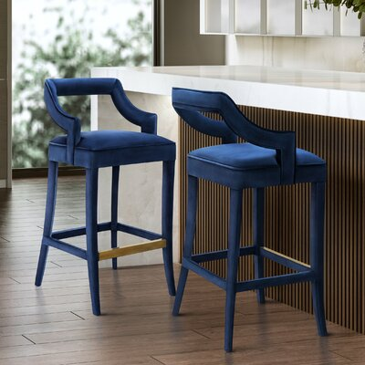Amabilia 30.7 Bar Stool Upholstery: Navy