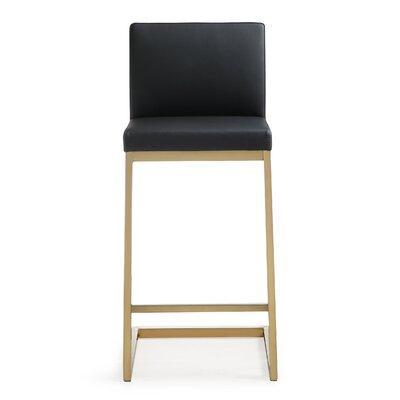Brace Steel 26 Bar Stool Upholstery: Black