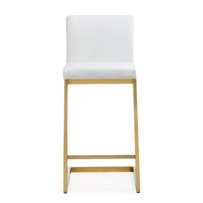 Brace Steel 26 Bar Stool (Set of 2) Upholstery: White