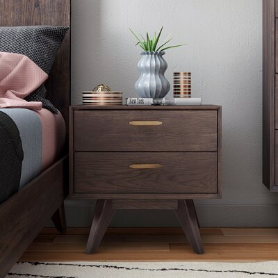 Wooden 2 Drawer Nightstand