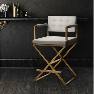 Laurenza Steel Bar Stool Size: 42.5 H x 21.5 W x 24.2 D, Upholstery: Black