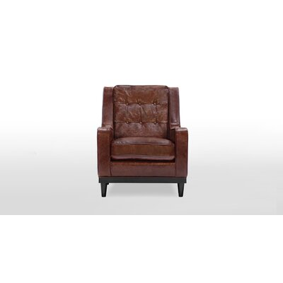 Crain Armchair Upholstery: Distressed Brown Leather