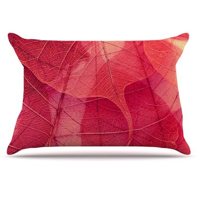 Delicate Leaves Pillowcase Size: King