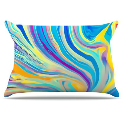 Rainbow Swirl Pillowcase Size: King