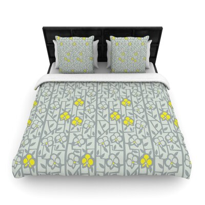 Deco Orchids Light by Allison Beilke Featherweight Duvet Cover Size: Full/Queen, Fabric: Woven Polyester