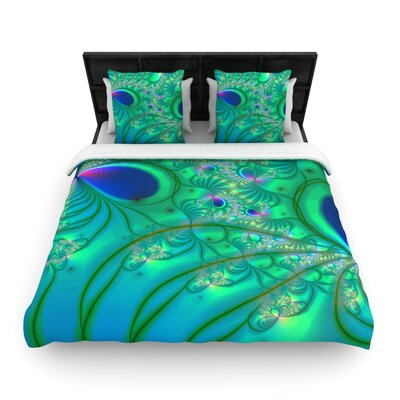Fractal Turquoise Woven Comforter Duvet Cover Size: Twin