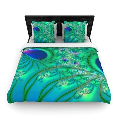 Fractal Turquoise Woven Comforter Duvet Cover Size: Full/Queen