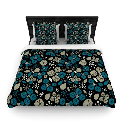 Leaf Scatters Midnight by Allison Beilke Featherweight Duvet Cover Size: Queen, Fabric: Cotton