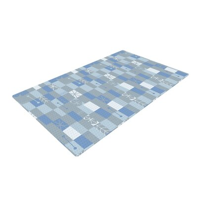 Allison Beilke Nature Check Winter Gray/Blue Area Rug Rug Size: 2 x 3