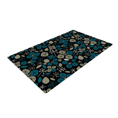 Allison Beilke Leaf Scatters Midnight Black Area Rug