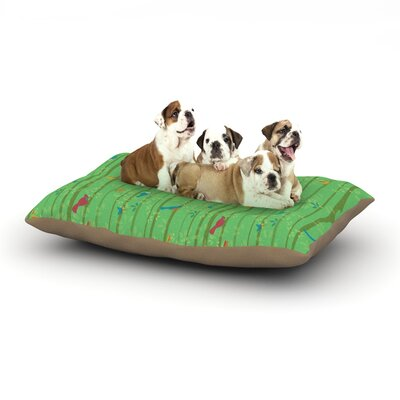 Allison Beilke Hello Birdies Dog Pillow with Fleece Cozy Top Size: Small (40 W x 30 D x 8 H)