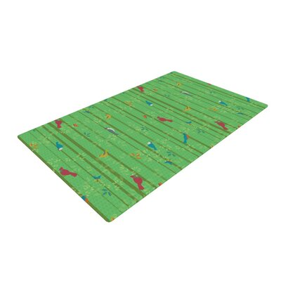 Allison Beilke Hello Birdies Green Area Rug Rug Size: 2 x 3