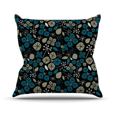 Leaf Scatters Midnight by Allison Beilke Throw Pillow Size: 16 H x 16 W x 1 D