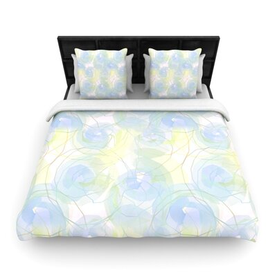 Blue Paper Flower Woven Comforter Duvet Cover Size: King