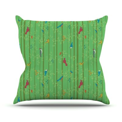 Hello Birdies by Allison Beilke Throw Pillow Size: 16 H x 16 W x 1 D