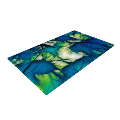 Alison Coxon Leaves Blue/Green Area Rug Rug Size: 2 x 3