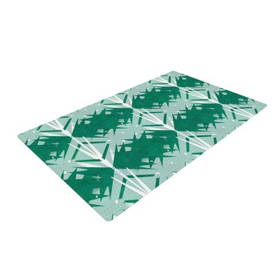 Alison Coxon Diamond Teal/White Area Rug Rug Size: 4 x 6