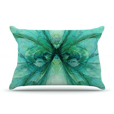 Alison Coxon Butterfly Blue Pillow Case Color: Green/Black