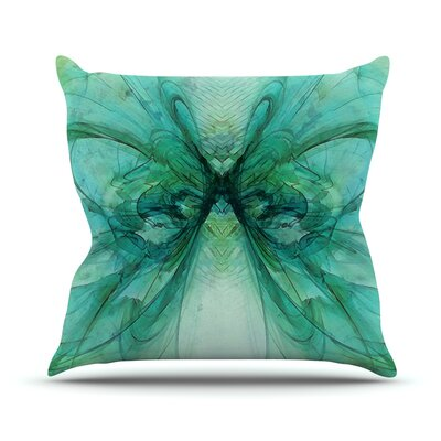 Butterfly by Alison Coxon Throw Pillow Size: 16 H x 16 W x 1 D, Color: Blue/Green/Black