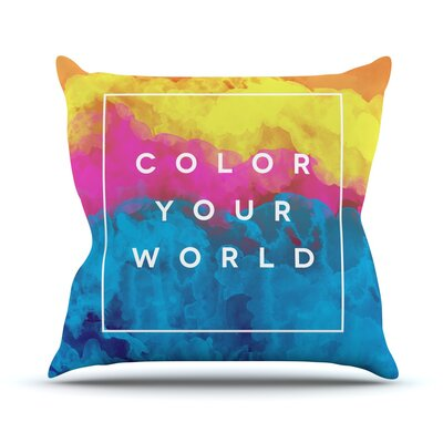 Color Your World by Galaxy Eyes Rainbow Paint Throw Pillow Size: 26 H x 26 W x 1 D