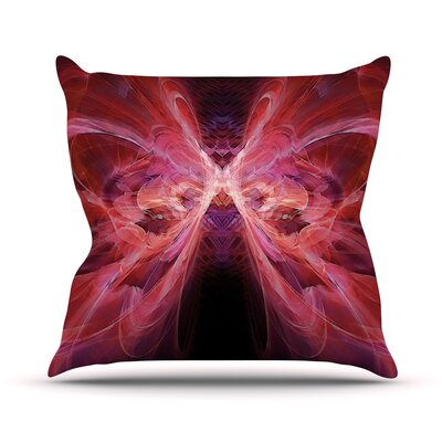 Butterfly by Alison Coxon Throw Pillow Size: 16 H x 16 W x 1 D, Color: Red/Pink