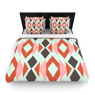 Coral Mint Triangle Weave Light by Pellerina Design Featherweight Duvet Cover Size: King/California King, Fabric: Woven Polyester